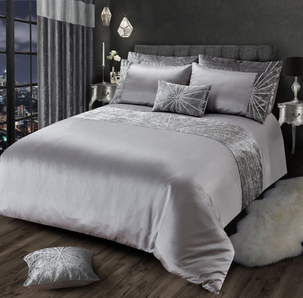 SILVER GREY CHIC SHIMMER GLAM DIAMANTE STAR CRUSHED VELVET LUXURY BEDDING LUXURY RANGE